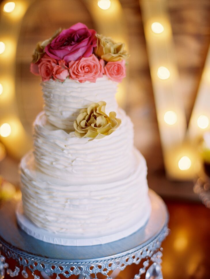 Three-Tier Ruffled Buttercream Wedding Cake