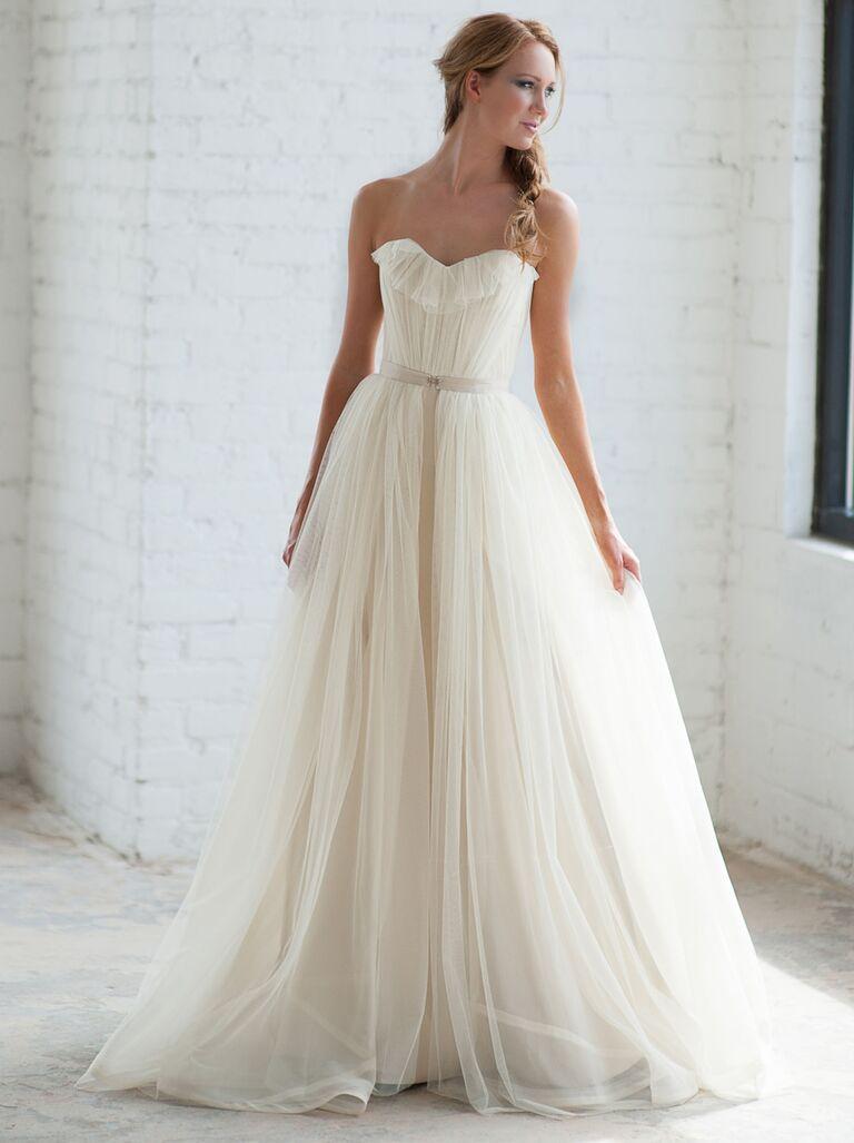 Tara LaTour Fall 2016 white strapless tulle overskirt wedding dress