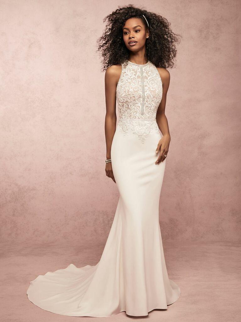 Rebecca Ingram Spring 2019 halter neck sheath wedding dress