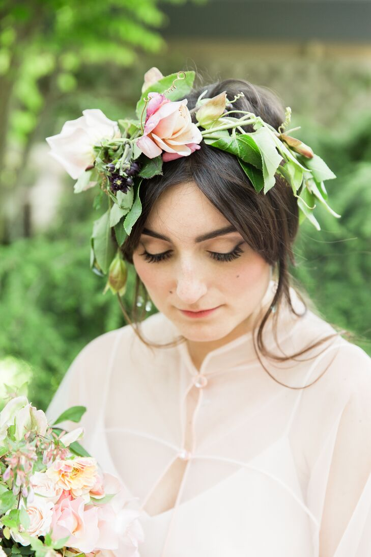 Wood nymphs inspired the whimsical flower crowns worn by the bridal attendants.