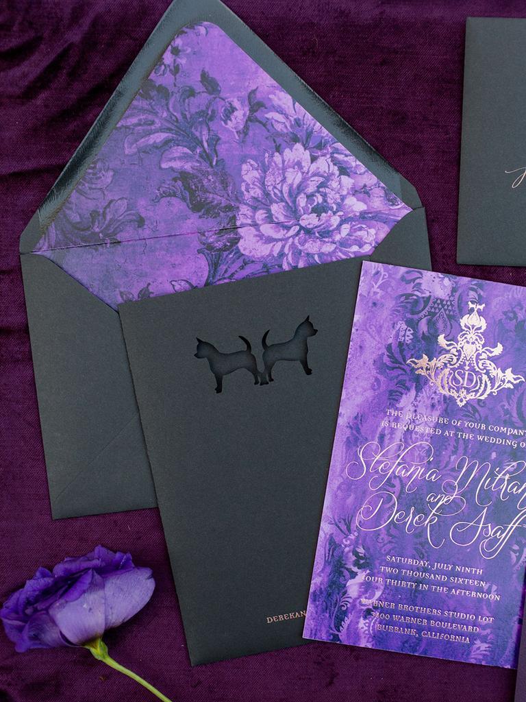 black and purple wedding invitation suite