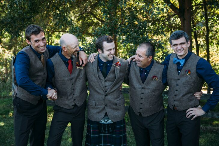 The groomsmen wore a tweed vest and flannel ties paired with dark brown pants and their own brown shoes.