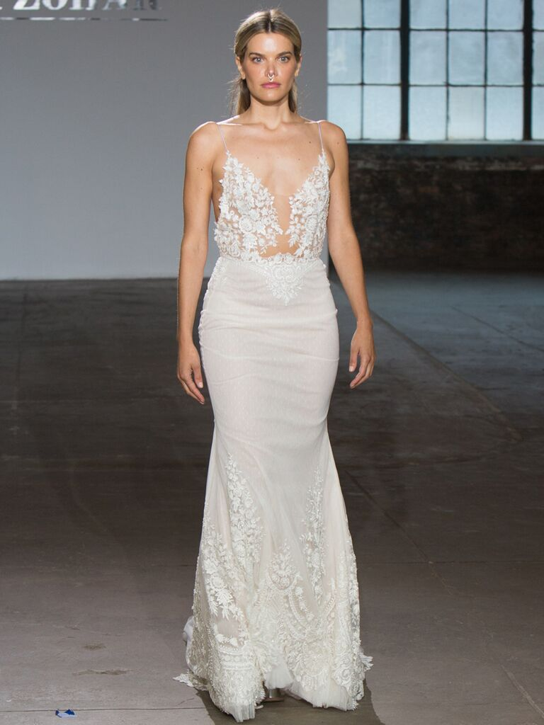 Adam Zohar Spring 2019 Collection fit-and-flare wedding dress with illusion neckline and spaghetti straps