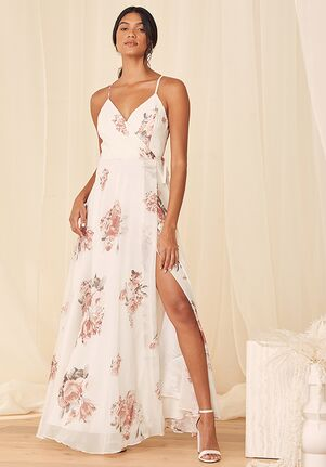 Lulus Elegantly Inclined Cream Floral Print Wrap Maxi Dress Bridesmaid Dress