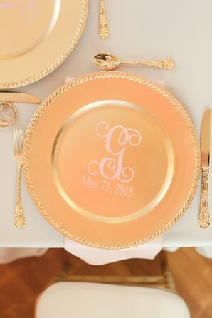 Monogrammed Gold Wedding Chargers
