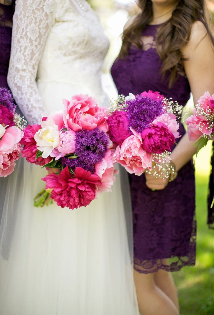 """I wanted the bouquets to look full, but a little bit unstructured,"" Anna says. She collected flowers from the gardens of friends and neighbors, then arranged them with the help of a family friend. The bouquets consisted mainly of pink and fuchsia peonies, Anna's favorite flower."