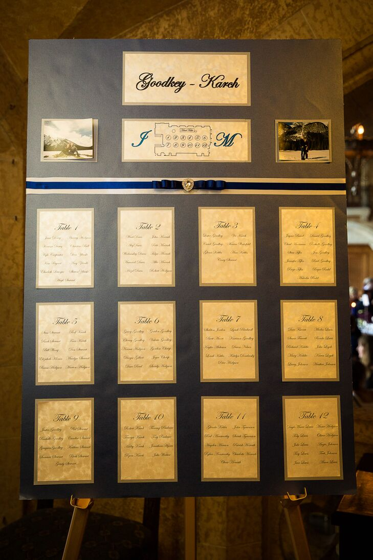 A large gold escort card sign stood just outside of the reception space and guided guests to their seat.