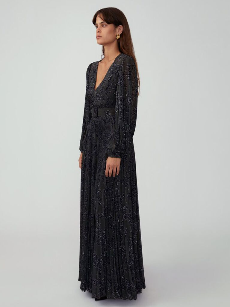 Fame And Partners pleated maxi dress winter bridesmaid dress