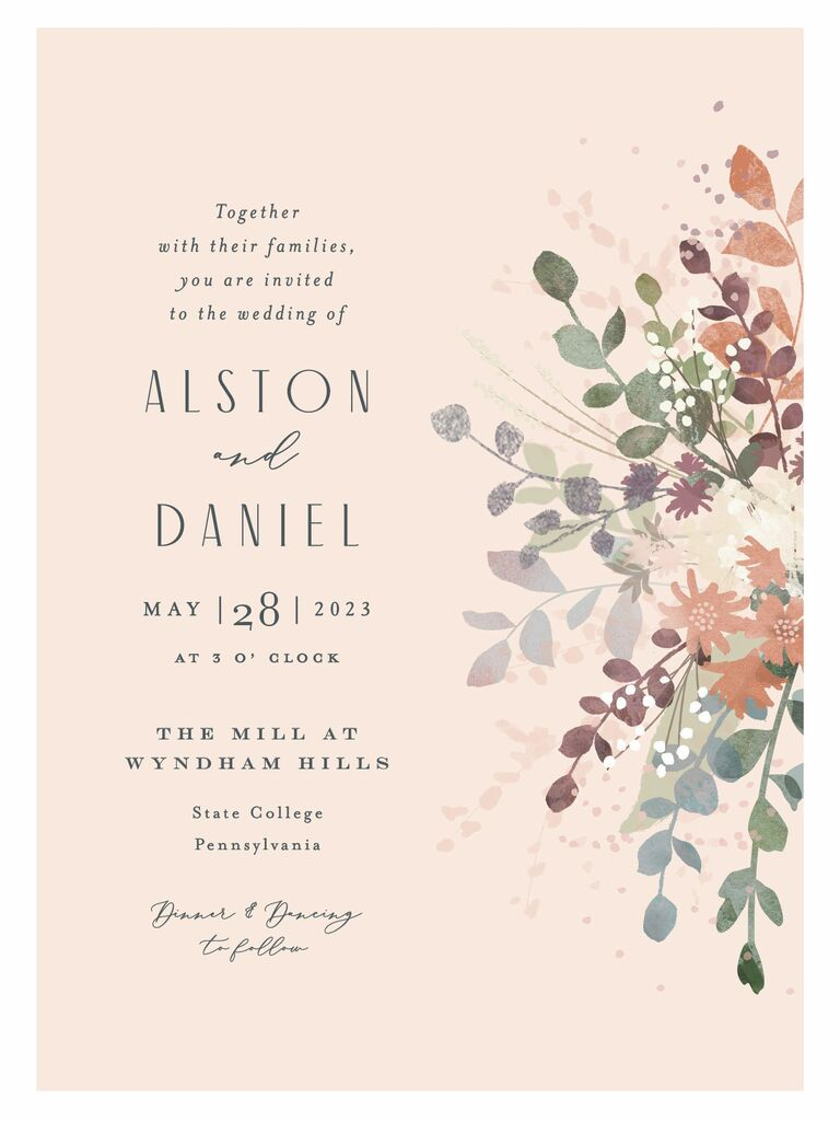 blush pink floral wedding invitation from minted