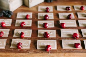 Neutral Escort Cards with Fresh Cherries