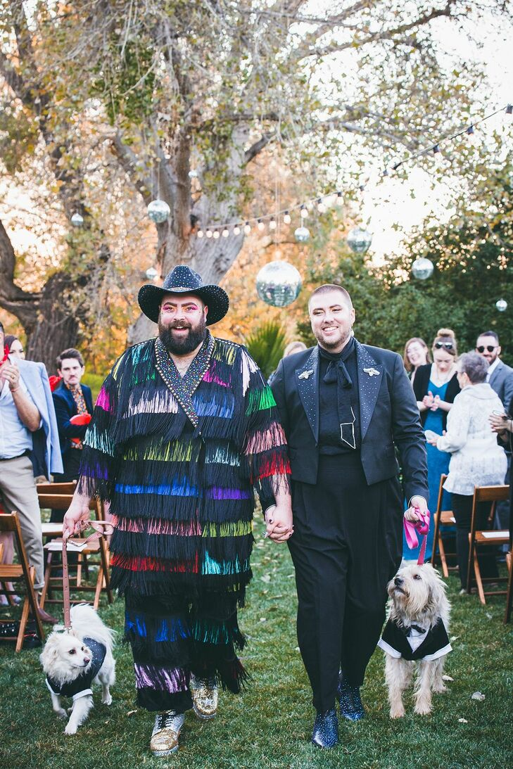 Glamorous Same-Sex Recessional with Colorful Tassel Suit and Modern Black Suit