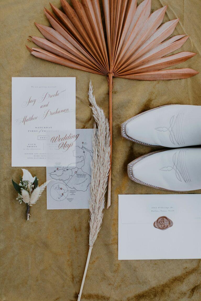 Rustic desert wedding invitation suite