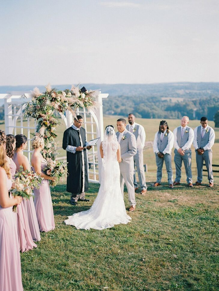 Hillside Wedding Ceremony at Lauxmont Farms in Wrightsville, Pennsylvania