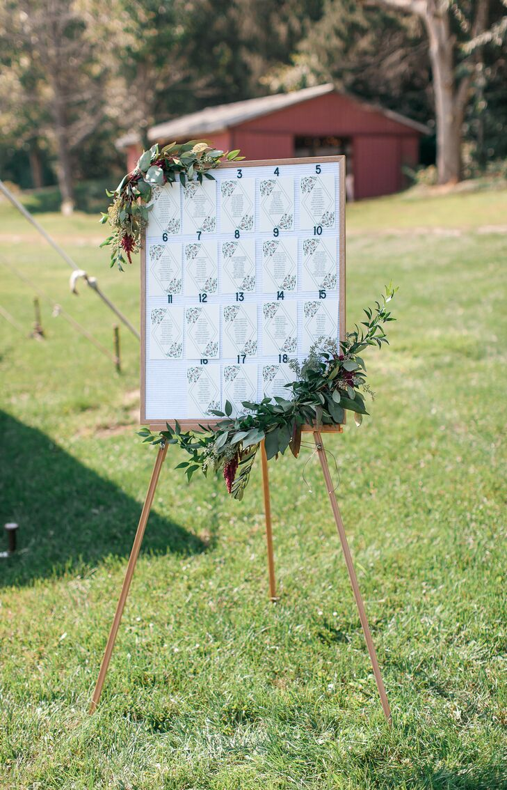 Easel-Style Seating Chart with Greenery
