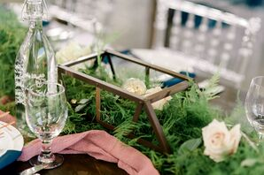 Rustic Bridge Centerpiece with Greenery and Roses