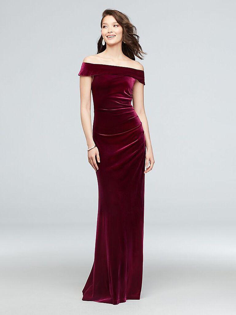 david's bridal maroon off the shoulder winter bridesmaid dress