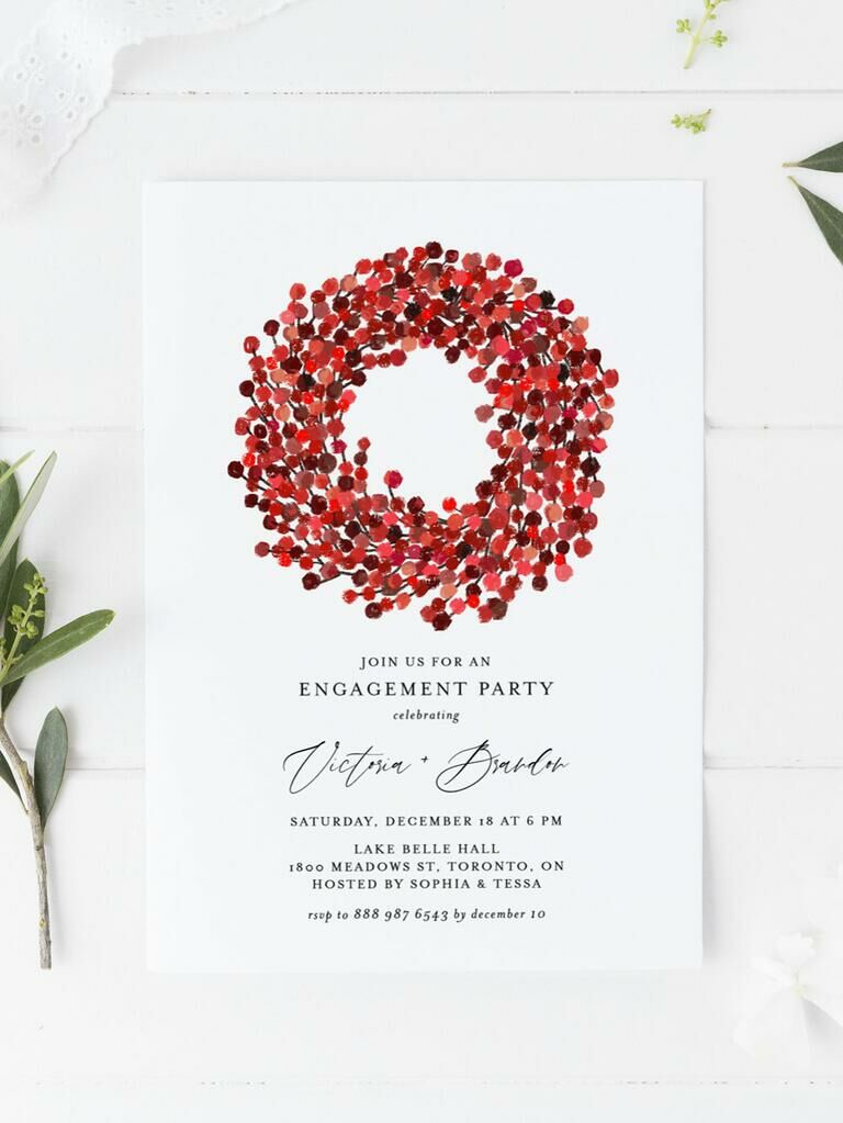 Red and white winter engagement party invitation