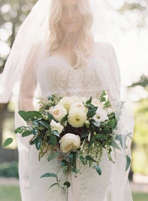 Classic Bouquet with White Peonies, Dahlias, Anemones and Lilies