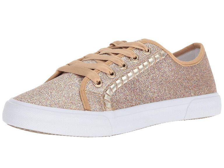 Rose gold glitter wedding sneakers