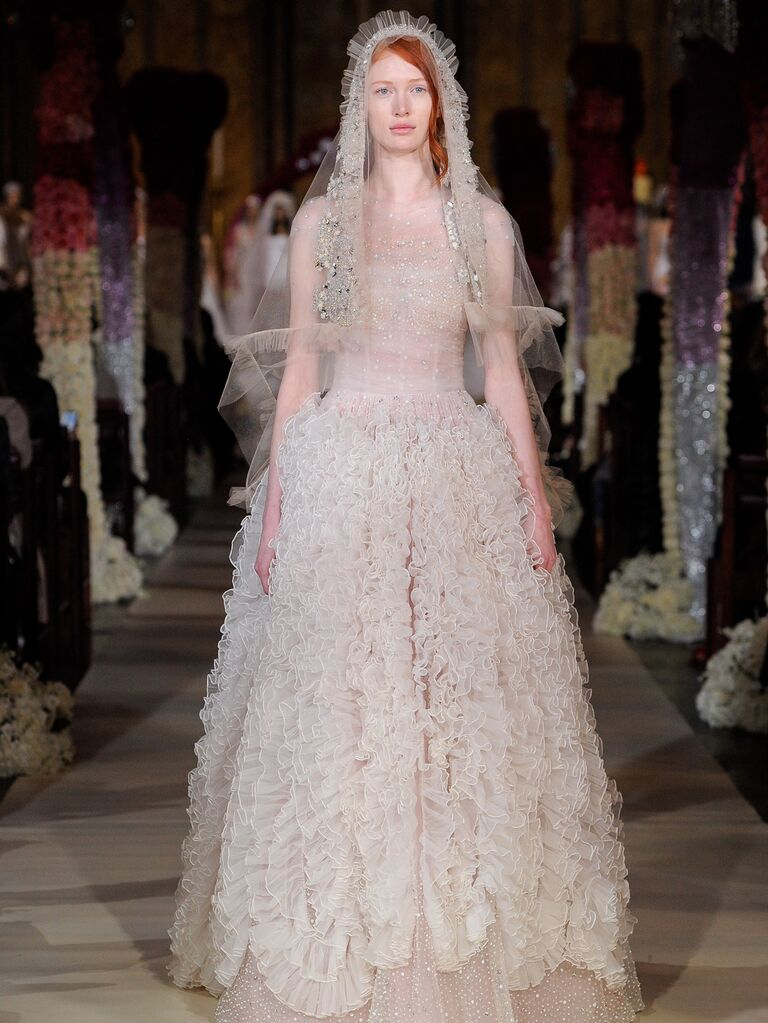 Reem Acra Spring 2020 Bridal Collection ruffled off-white wedding dress