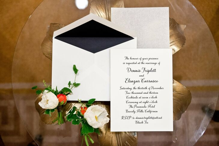 Dennis and Eleazar got this formal, black and white invitation suite from Paper Source.