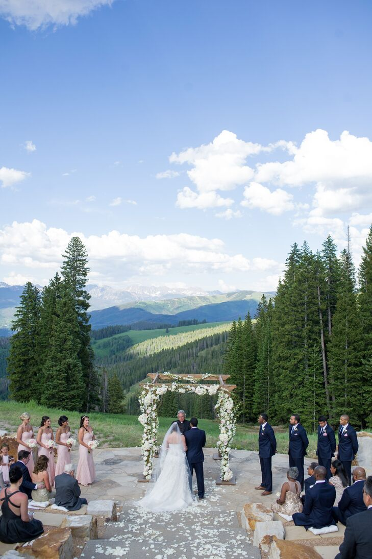 Mountain Ceremony under a Floral Arch