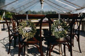 Lush Bride and Groom Sweetheart Chair Wreaths