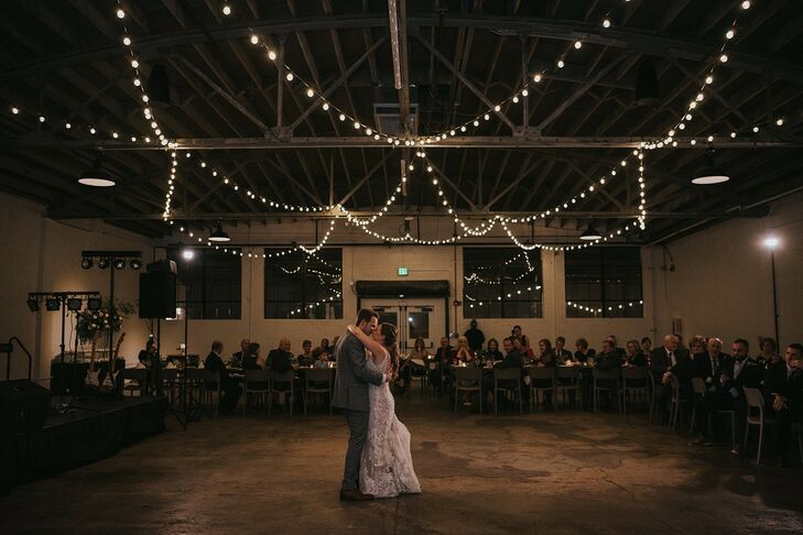 Modern, Industrial First Dance with String Lights in Warehouse