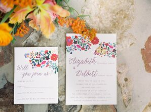 Colorful Illustrated Floral Invitations with Curly Script