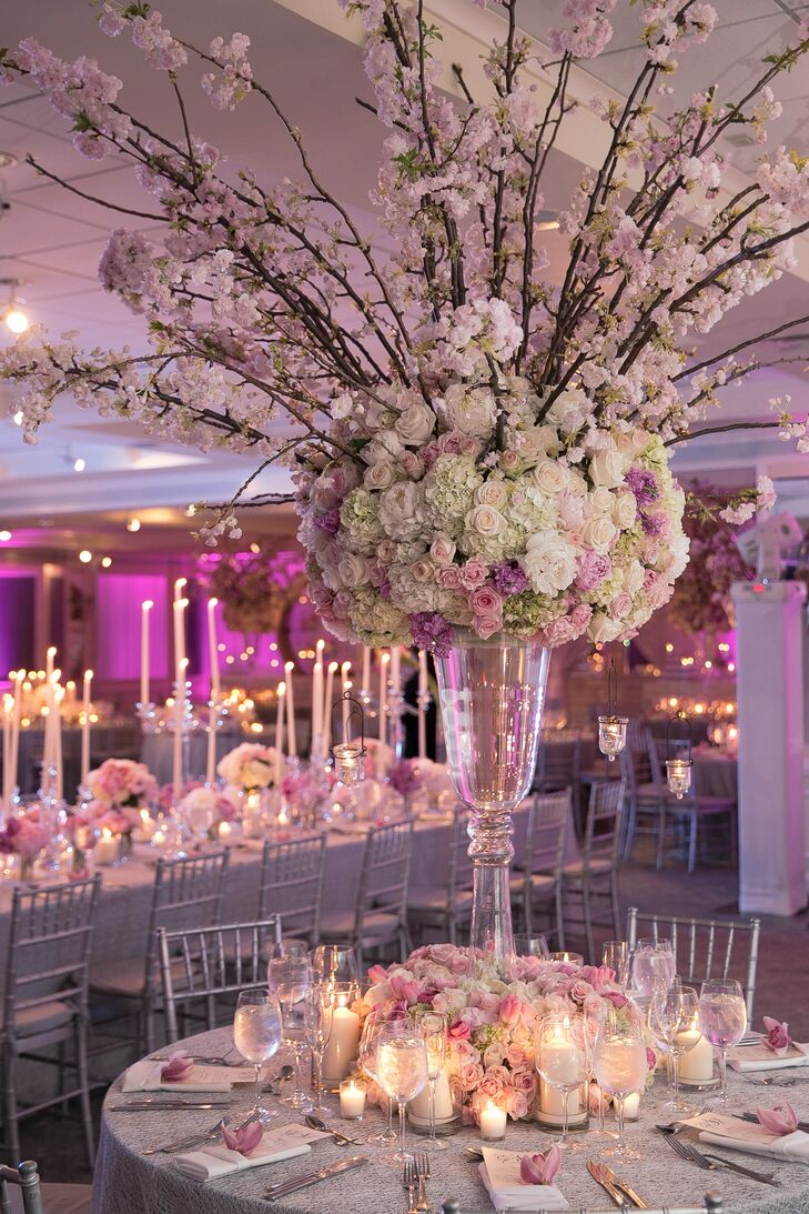 Tall, Ornate, Pink Cherry Blossom Centerpieces