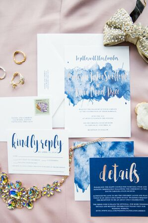 Whimsical Blue Invitation Suite with Watercolor Details