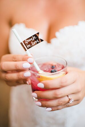 Signature Cocktail with Gold Straw Flags