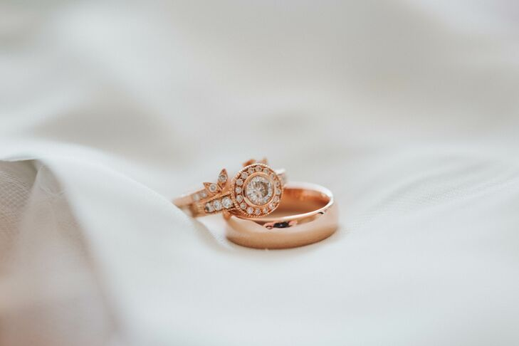 Rose Gold and Diamond Wedding Ring with Rose Gold Band