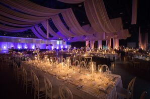 Modern Purple Uplighting and Ceiling Draping