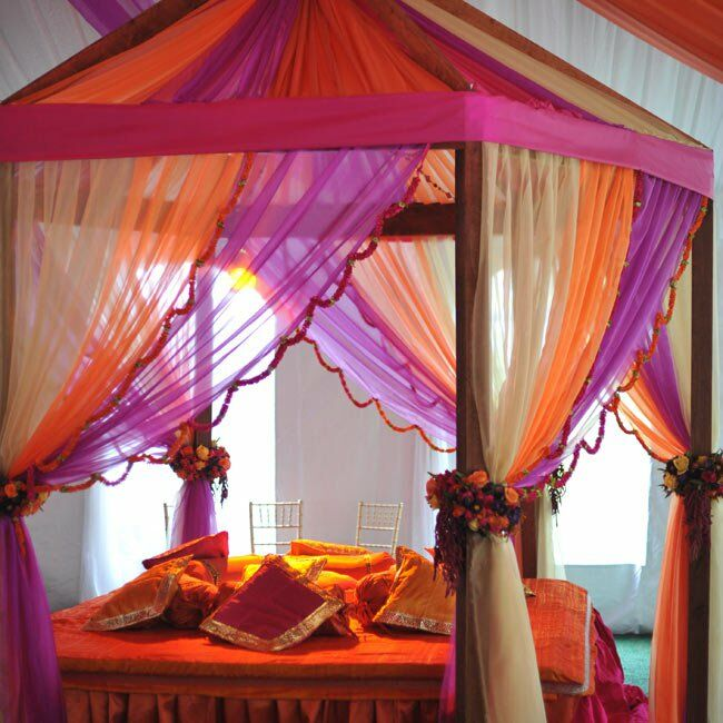 Bursts of color filled every corner of the tent. A cozy lounge area with a bed and pillows helped set the laid-back vibe at the Sangeet, a celebration they had two nights before the ceremony.