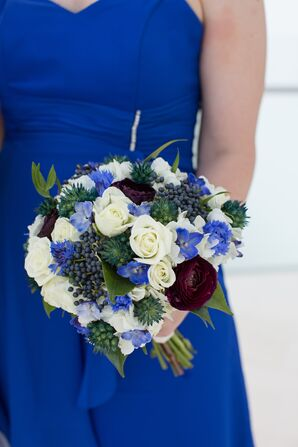 Dramatic Blue, Plum and Ivory Bridesmaid Bouquet