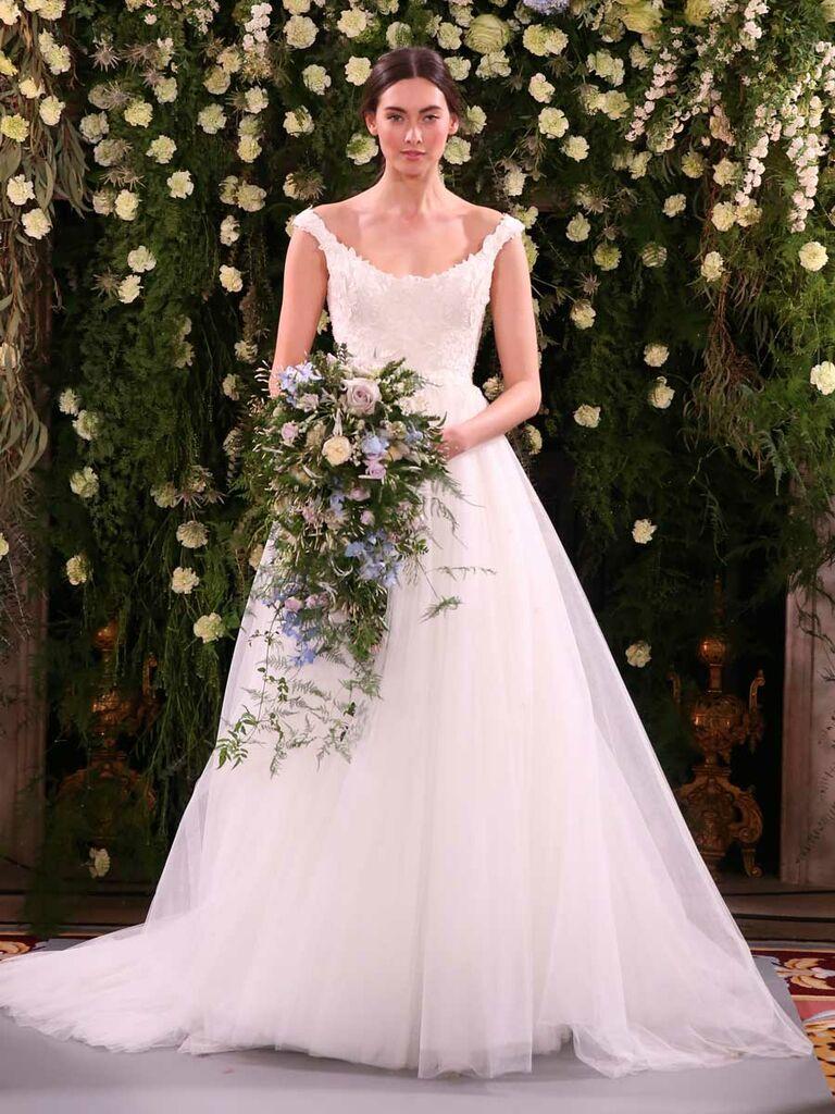 c71c34c53169 Jenny Packham Spring 2019 satin bodice wedding dress with tulle skirt