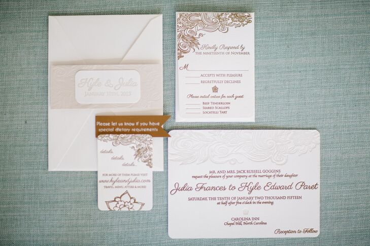Gold and Ivory Letterpress Wedding Invitations