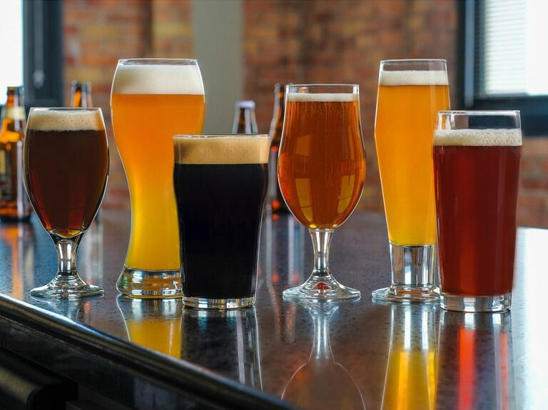six assorted craft beer glasses