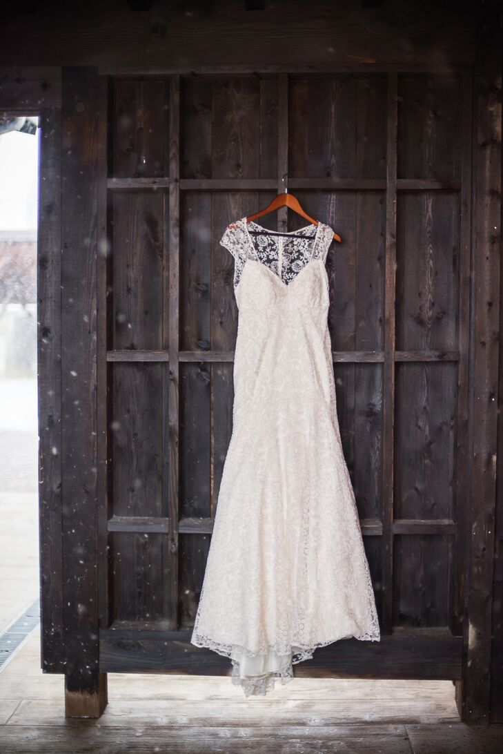"""""""I was looking for an off-white dress that had elements of lace,"""" Kaley says. """"I love an antique look from the 40s and 50s, sophisticated and classy. I found my perfect dress through BHLDN. Once I tried on the dress, I knew that it was the one."""""""
