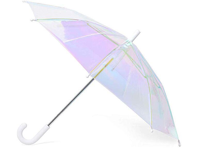 Compact Folding Wedding Umbrellas in White Wedding Theme Prints Bride /& Groom