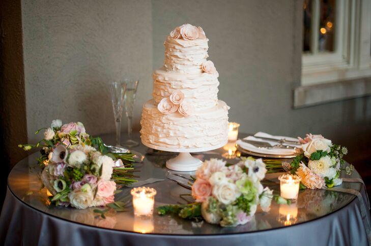 Ruffled Fondant Cake With Blush Flowers