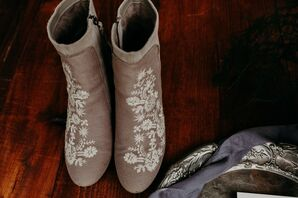 Rustic Brown Cowboy Boots with Floral Embellishments