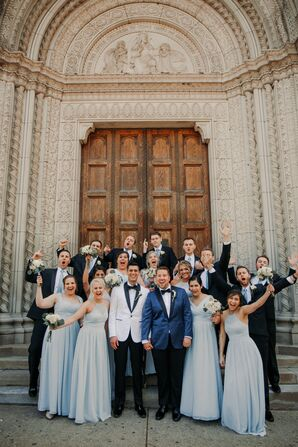Black Tuxedos and Pale Blue Bridesmaid Dresses