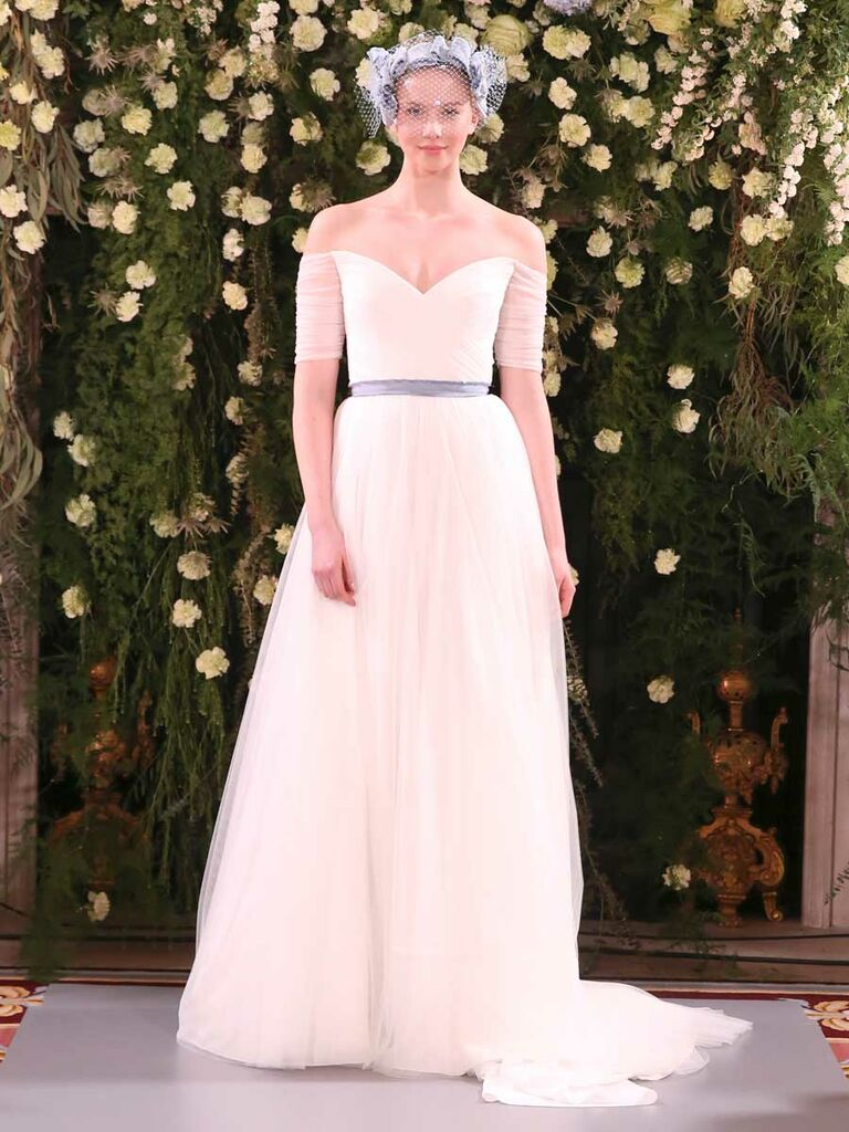 d5bb22ca1656e Jenny Packham Spring 2019 off-the-shoulder tulle wedding dress with blue  sash