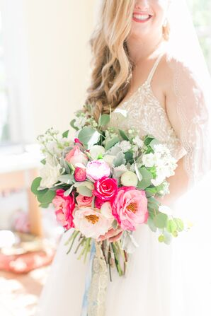 Glamorous Bouquet with Pink and White Garden Roses, Peonies and Ranunculus