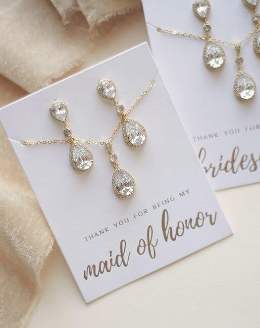 Dareth Colburn Madeline CZ Bridesmaid Pendant Set (JS-1694-BR) Wedding Necklaces photo