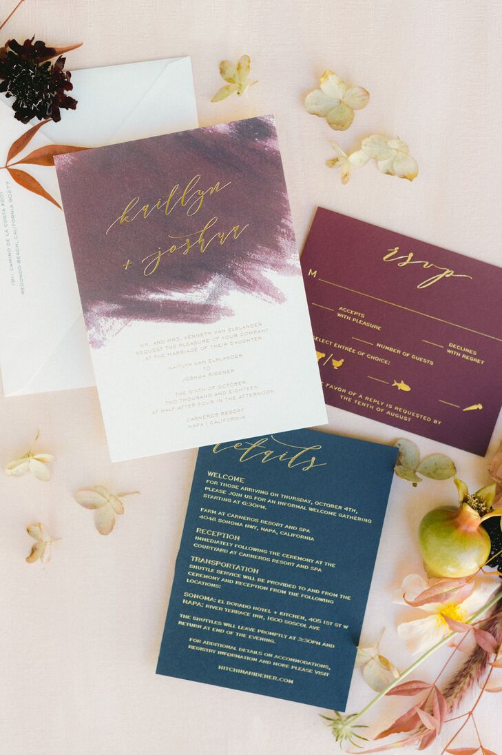 Romantic Jewel-Toned Invitations with Gold Calligraphy
