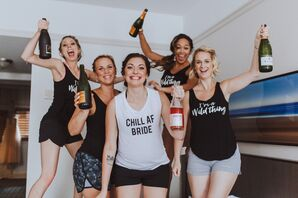 Bride and Bridesmaids in Themed Getting-Ready Shirts