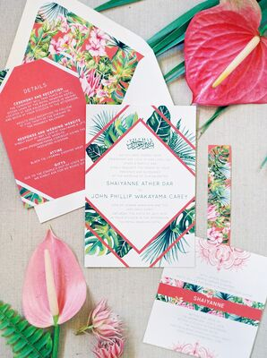 Tropical Green-and-Pink Wedding Invitations